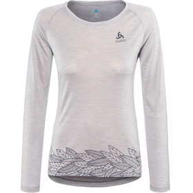 Odlo BL Concord Longsleeve Top Crew Neck Dames, grey melange-leaves on waist print ss19